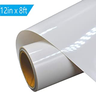 Heat Transfer Vinyl HTV for T-Shirts 12 Inches by 8 Feet (White)