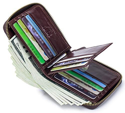 Mens Genuine Leather Zipper Wallet RFID Blocking Bifold Secure Zip Around Wallets Multi Credit Card Holder Purse 3