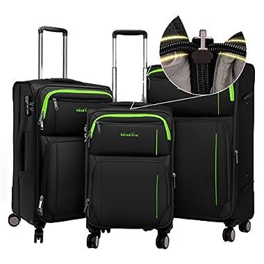 Windtook Expandable Luggage 3 Piece Set Lightweight Suitcase Spinner Sets (Black-YKK+TSA)