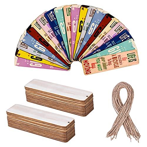 smatime 36 Piezas Marcapáginas de Madera en Blanco 12x3,1cm Marcadores de Libros...