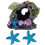 GSD Shell Broken Barrel Resin Betta Fish Tank Accessories Ornaments for Fish Cave Hide Tank Decorations, Shell Broken Barrel x 1pc, Blue Star Fish Ornaments x 2pcs