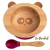 Bol Ventouse pour Bébé et Cuillère en Bambou Naturel | L'Original 'Bambol' par Finkolo | Forme Panda | Vaisselle Apprentissage | Coffret Repas Assiette