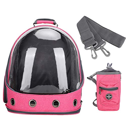 Eulbevoli Mochila para Mascotas, Mochila para Gatos Hay Varios Orificios de ventilación Alto Campo de visión para Perros para Gatos(Pink)