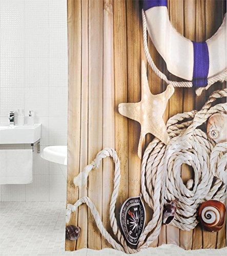 Duschvorhang Maritime 180 x 200 cm, hochwertige Qualität, 100prozent Polyester, wasserdicht, Anti-Schimmel-Effekt, inkl. 12 Duschvorhangringe