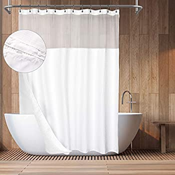 Hotel Style Cotton Waffle Shower Curtain with Snap-in Fabric Liner Mesh Window Top Honeycomb Waffle Weave Cotton Blend Fabric Washable White 71x72 Inches