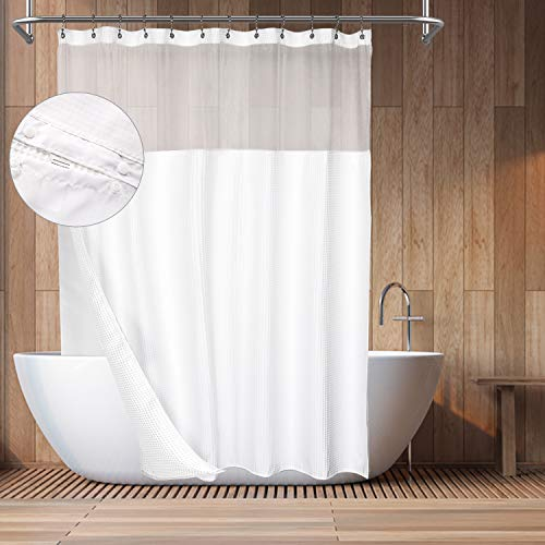 """Barossa Design Hotel Style Cotton Shower Curtain with Snap-in Fabric Liner, 75"""" Long, Mesh Window Top, Honeycomb Waffle Weave Cotton Blend Fabric, Washable, White, 71x75 Inches"""
