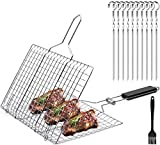 MHGRUITN Grill Basket, Barbecue Basket with Detachable Handle, Stainless Steel Grilling Barbecue Accessories, BBQ Tools Suitable for Fish, Meat, Vegetable, Steak, Shrimp and Skewers
