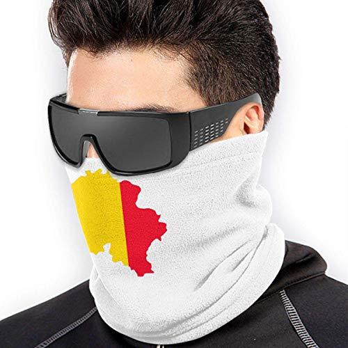 QDAS Mannen Vrouwen België Vlag Kaart Nek Gaiter Warmer Anti-stof Cap Beanie Hoofdband voor Hoofd Wikkel Zwart