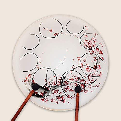Tambor de lengua de acero, Lengua tambor de acero de 12 pulgadas pintadas a mano del tambor 11-Tone mano tambor de acero inoxidable percusión instrumento adecuado for el yoga, aptitud, meditación, Edu