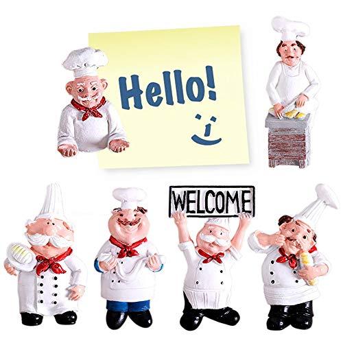 Imanes de nevera para nevera, 6 unidades, decorativos, para chef, nevera, decoración de hogar, cocina, imanes de resina 3D, imanes de oficina, imanes de cocina, decoración de pared