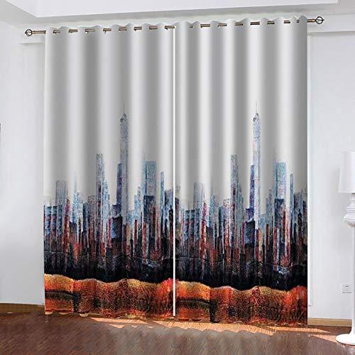 FOssIqU Impresión 3D de la cortina opaca 52x63inch Arquitectura de la ciudad abstracta Aislamiento acústico y prevención de ruido con cortinas de dormitorio perforadas, cortinas de decoración del hoga