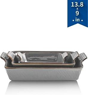 KOOV Bakeware Set, Ceramic Baking Dish, Rectangular Lasagna Pans for Cooking, Cake Dinner, Kitchen, 13 x 9 Inches, Texture Series 3-Piece (3 Piece, Cloudy gray)