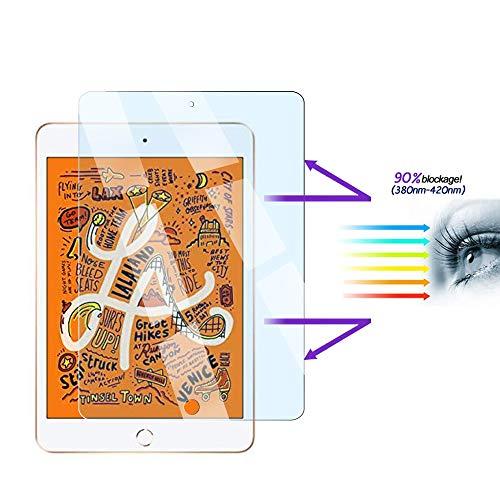 FiiMoo Anti Blue Light Scherm Beschermer Compatibel met iPad Mini 5 2019 / Mini 4, [Verlicht oogvermoeidheid] [Blokkeert overmatig schadelijk blauw licht en UV] [9H Hardheid]