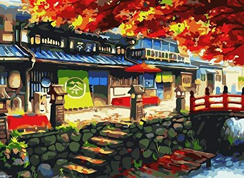 AKLIGSD DIY malen nach Zahlen Erwachsene Anfänger-Kit Kinder Leinwand Kunst Malerei -Japanisches Teehaus 16x20inch (40x50cm) [Kein Rahmen]