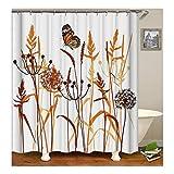 Daesar Anti-Schimmel Duschvorhang 180X200 Löwenzahn mit Schmetterling 3D Vintage Duschvorhang aus Polyester-Stoff