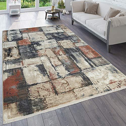 Paco Home Teppich Wohnzimmer Vintage Orient Muster Abstrakt Verschiedene Designs Farben, Grösse:160x230 cm, Farbe:Mehrfarbig