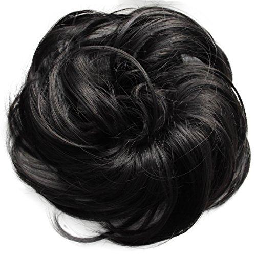 PRETTYSHOP Haarteil Haargummi Hochsteckfrisuren Brautfrisuren Voluminös Leicht Gewellt Unordentlich Dutt Naturschwarz G41B