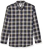 Amazon Essentials Men's Regular-Fit Long-Sleeve Twill Shirt, Navy/Green Plaid, X-Large