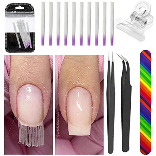 Soapow Kit de extensión de uñas de fibra de vidrio – 10 piezas de fibra de vidrio + lima de uñas + clip de uñas + 2 pinzas