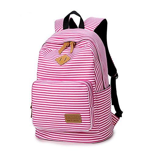 Artone Banda Scuola Borsa Daypack Casuale Zaino Con Scomparto Laptopt Bianco Rosa