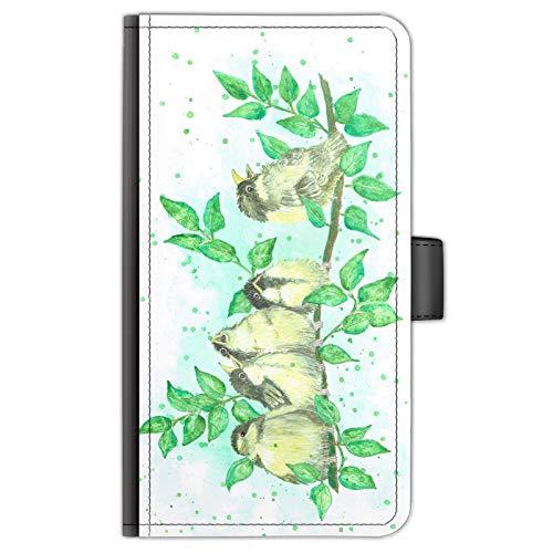 Hairyworm Song Uccelli Pelle Laterale Flip Portafoglio Custodia per Telefono, Acquerello Stampa Cover Cellulare per Samsung Galaxy C5