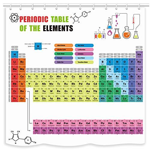 UNIFEEL Cortina de ducha con tabla periódica de elementos 2019, diseño colorido fondo blanco. Los amantes de la química de Science Freak para el aprendizaje divertido, 180 x 180 cm