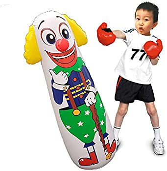Jet Creations Clown Punching Bag for Kids Inflatable Figure with Squeak Sound Weighted Bottom  You Fill Water or Sand  1 pc Multi 42 inch Tall FUN-BB03