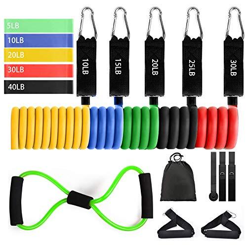 Hook Resistance Bands Fitnessband Widerstandsband Set(11-Teiliges), Expander Fitness für Fitness Zuhause, Krafttraining und Yoga. + 5 Gymnastikbänder, 1 Fitness-Cross-Tube.