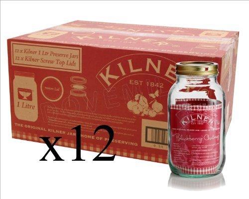Kilner Set of 12 1 Litre Screw Top Storage Jars