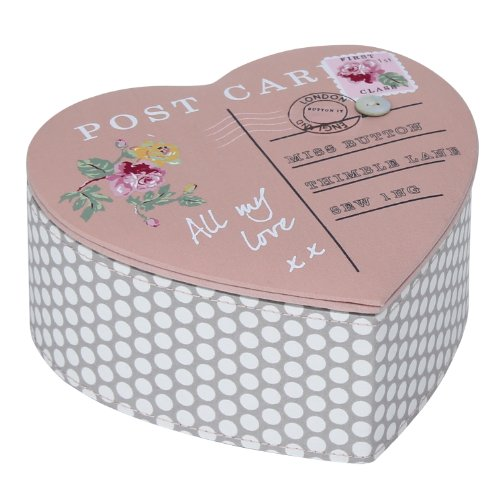 Button It | All My Love | mink polka dot vintage heart shaped postcard button box with duck egg spotty lining