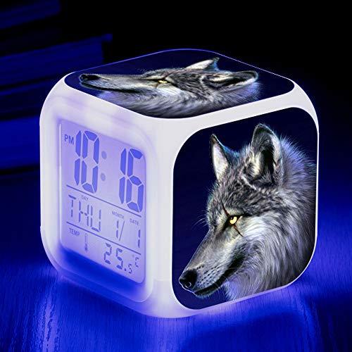 HUA-Alarm clock Niedliche Tier Wolf Bunte Quad Wecker Kreative Kleine Wecker Student Kinder Wecker Geschenke 8X8X8cm/ Nummer 11