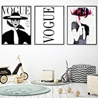ファッションセクシーな女性ポスターレターヴォーグアートキャンバス絵画壁画プリントモダンホームリビングルーム装飾-50X70cm20x28インチフレームなし