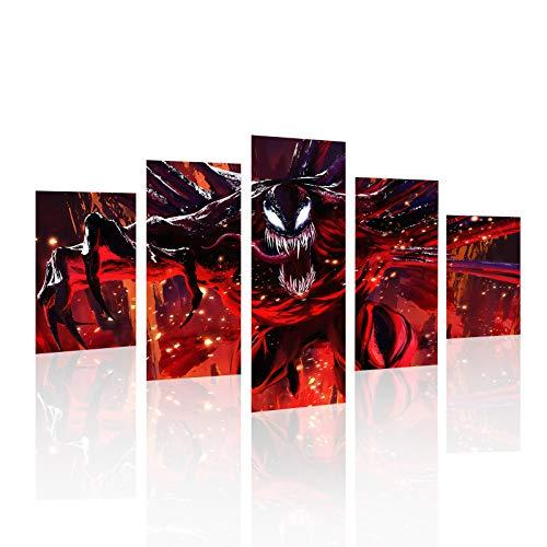 HCOZY Stampa su Tela, 5 Pezzi Venom Canvas Wall Art Painting for Home Living Room Office Mordern Decoration Gift (Senza Cornice)