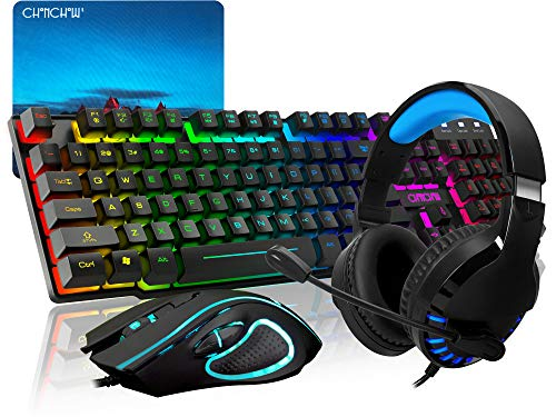 CHONCHOW Gaming Keyboard Mouse Mousepad Headset Combo,USB Wired RGB Rainbow Backlit Gaming Keyboard and Mice and Over Ear Headphone with Mic for Xbox PS4 PC Computer Tablet