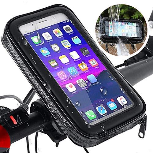 Max excell Porta Cellulare da Bici, Supporto Smartphone per Moto e Scooter Impermeabile con Touch Screen e Rotazione a 360, per iPhone e Samsung da 4,8 a 6,3 Pollici (Large)