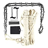 48 Inch High Reach Tree Limb Hand Rope Chain Saw, Blades on Both Sides, with Ropes, Throwing Weight Pouch Bag, 2 Plastic Handles