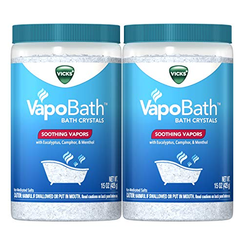 Vicks VapoBath Bath Crystals, 15 oz (2 Pack), Bath Bomb & Salts, Soothing Vicks Vapors with Eucalyptus, Camphor, and Menthol (30 oz Total)