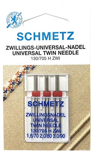 SCHMETZ Set aus 3 Universal Zwillingsnadeln in den Stärken 1,6 2,0 und 3,0