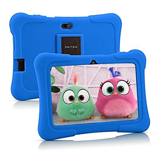 Pritom Kinder-Tablet 7 Zoll Quad Core Android 10,16 GB ROM, WiFi, Bedienungsanleitung, Spiele, Kinder-Software vorinstalliert mit Tablet-Tasche für Kinder, Eltern (blau)