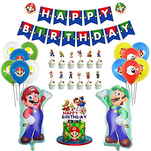 JOPARY Super Mario Birthday Party Supplies with Happy Birthday Banner,Mario Foil and Latex Balloons, Cake Toppers for Kids Boys Girls Birtdhay Party, Mario Bros Party Decoration