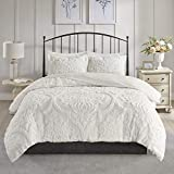 Madison Park Tufted Chenille 100% Cotton Duvet Modern Luxe All Season Comforter Cover Bed Set with Matching Shams, King/Cal King(104'x92'), Viola, Damask White