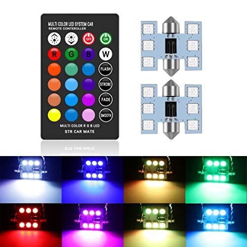 DE3175 DE3022 6428 3175 LED Bulb 31mm 1.25' Festoon Bulbs RGB with Remote Control, 16 Colors Change LED Car Interior Light Dome Map Courtesy Lamps License Plate Lights