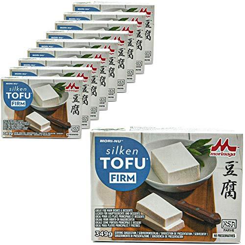 Mori-No - 10er Pack Silken Tofu Firm in 349 g Packung - Seidentofu hergestellt aus ausgesuchten Sojabohnen