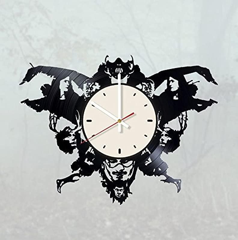Pieceful Hannibal Vinyl Record Wall Clock Horror Clock Gift Idea For Birthday Christmas Women Men Friends Girlfriend Boyfriend And Teens Living Kids Room Nursery White White