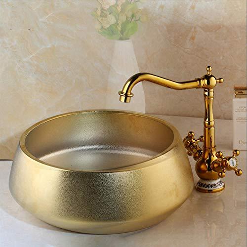 Hiwenr schotel bassin met wastafel keramische bassin U. Gepolijste gouden kraan zet gouden keramische toilet EEN