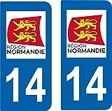SAFIRMES 2 Stickers Autocollant Style Plaque Auto Immatriculation département 14 Normandie
