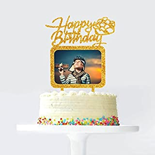 Gold Happy Birthday Cake Topper with Photo Frame, Birthday Girl Boy Woman Man Photo Picture Cake Toppers, Party Cake Decorations