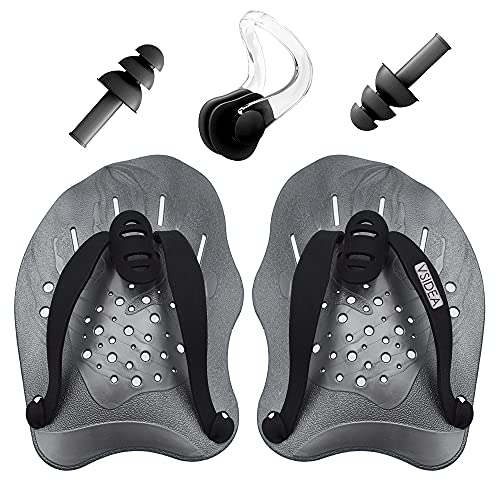 Vsidea Swim Training Hand Paddles with Ear Plugs and Nose Clip, Swimming Paddles with Adjustable Straps, Swimming Paddles for Women Men and Children...