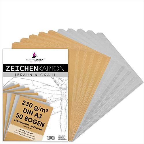 MarpaJansen Zeichenkarton in braun & grau Matt, DIN A3, 50 Bogen, 230g/m² fester Recyclingkarton für Skizzen, Zeichnungen und Kunstwerke