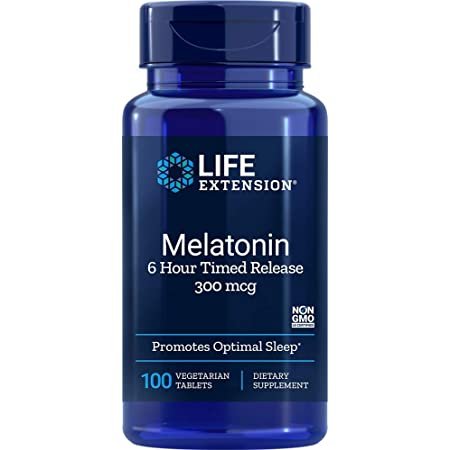 Life Extension Melatonin 6 Hour Time Released Vegetarian, 300 mcg 100 Vegetarian Tablets